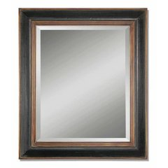 Buy Uttermost Fabiano Black 42x36 Wall Mirror in Black with Antiqued Gold on sale online