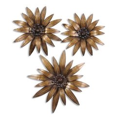 Buy Uttermost Golden Gazanias 24x24 Wall Art (Set of 3) on sale online