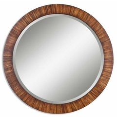 Buy Uttermost Jules 36 Inch Round Wall Mirror in Brown on sale online