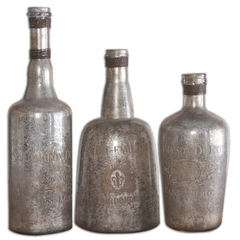 Buy Uttermost Lamaison Glass Bottles in Mercury (set of 3) on sale online