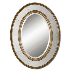 Buy Uttermost Lara Oval 33x25 Wall Mirror in Antiqued Silver on sale online