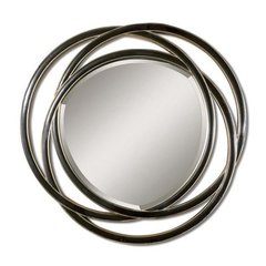 Buy Uttermost Odalis 48 Inch Round Wall Mirror in Black with Silver on sale online
