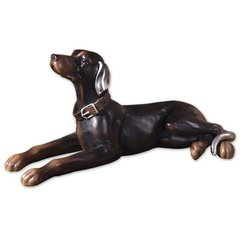Buy Uttermost Resting Dog Statue Black and Silver on sale online