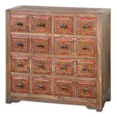 Buy Uttermost Rylee Weathered Drawer Chest in Medium Wood and Red on sale online