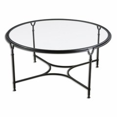 Buy Uttermost Samson 44 Inch Round Glass Coffee Table in Black on sale online