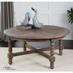 Buy Uttermost Samuelle Round Wooden 42x42 Coffee Table on sale online