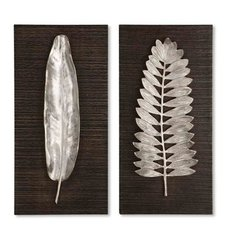 Buy Uttermost Silver Leaves 24x12 Wall Art in Aluminum and Brown (Set of 2) on sale online