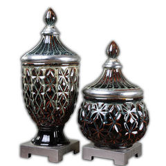 Buy Uttermost Tailor Ceramic Urns in Dark Blue (set of 2) on sale online