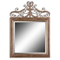 Buy Uttermost Valonia 42 Inch Square Wall Mirror in Antique Gold on sale online