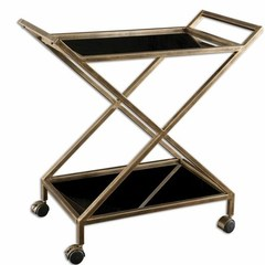 Buy Uttermost Zafina Traditional Bar Cart in Antique Gold and Black on sale online