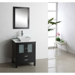Buy Virtu USA Brentford 28 Inch Single Sink Bathroom Vanity in Espresso w/ White Artificial Stone Top on sale online