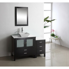 Buy Virtu USA Brentford 54 Inch Single Sink Bathroom Vanity in Espresso w/ White Artificial Stone Top on sale online