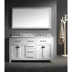 Buy Virtu USA Caroline 60 Inch Double Sink Bathroom Vanity in White on sale online