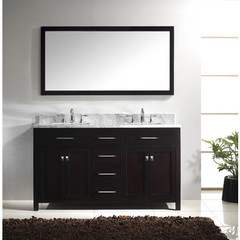 Buy Virtu USA Caroline 60 Inch Double Square Sink Bathroom Vanity in Espresso on sale online