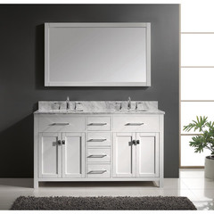 Buy Virtu USA Caroline 60 Inch Double Square Sink Bathroom Vanity in White on sale online