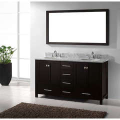 Buy Virtu USA Caroline Avenue 60 In Double Square Sink Vanity in Espresso with Marble Top w/ Italian Carrara White Marble Top on sale online