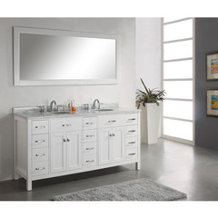 Buy Virtu USA Caroline Parkway 72 Inch Double Sink Bathroom Vantity in White on sale online