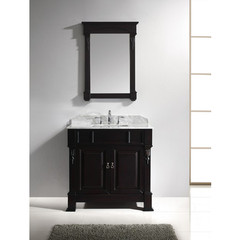 Buy Virtu USA Huntshire 36 Inch Single Sink Bathroom Vanity in Dark Walnut w/ Italian Carrara White Marble Top and Square Sinks on sale online