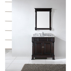 Buy Virtu USA Huntshire 36 Inch Single Sink Bathroom Vanity in Dark Walnut w/ Italian Carrara White Marble Top on sale online