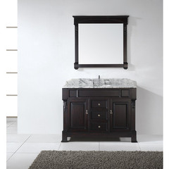 Buy Virtu USA Huntshire 48 Inch Single Sink Bathroom Vanity in Dark Walnut w/ Italian Carrara White Marble Top on sale online