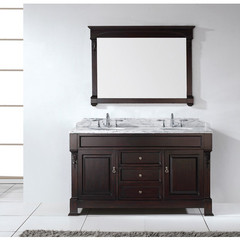 Buy Virtu USA Huntshire 60 Inch Double Bathroom Vanity in Dark Walnut w/ Italian Carrara White Marble Top on sale online