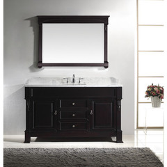 Buy Virtu USA Huntshire 60 Inch Single Sink Bathroom Vanity in Dark Walnut w/ Italian Carrara White Marble Top and Square Sinks on sale online