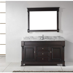 Buy Virtu USA Huntshire 60 Inch Single Sink Bathroom Vanity in Dark Walnut w/ Italian Carrara White Marble Top on sale online