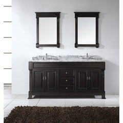 Buy Virtu USA Huntshire 72 Inch Double Sink Bathroom Vanity in Dark Walnut w/ Italian Carrara White Marble Top on sale online