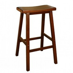 Buy American Heritage Wood Saddle 24 Inch Counter Height Stool in Walnut on sale online
