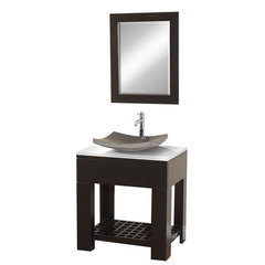 Buy Wyndham Collection Zen 2 30 Inch White Stone Top Vanity Set w/ Granite Sink on sale online