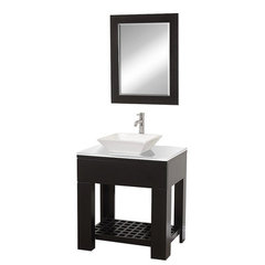 Buy Wyndham Collection Zen 2 30 Inch White Stone Top Vanity Set w/ Porcelain Sink on sale online