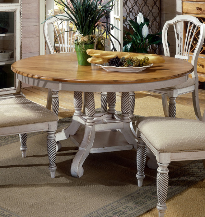 hillsdale wilshire 7 piece round dining room set w side chairs in